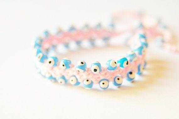 Evil Eye Bead bracelet Blue beads Pink bracelet by selenayy #etsymntt #etsyfind #etsyhmw #boebot #gifts #etsyretwt #etsyhouse #shopetsy