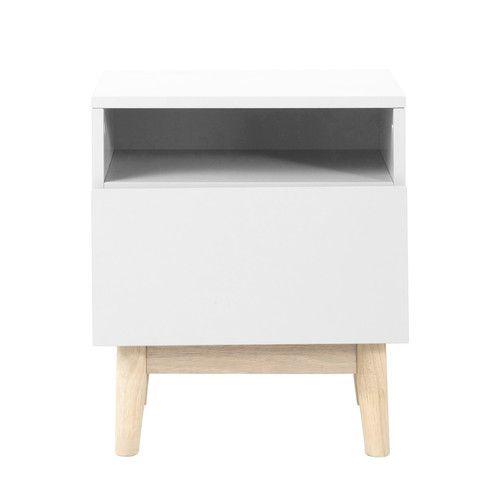 maisons du monde - table de chevet vintage en bois blanc l 40 cm