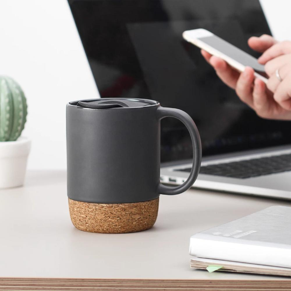 DOWAN 15Ounce Ceramic Mugs with Insulated Cork and Mug