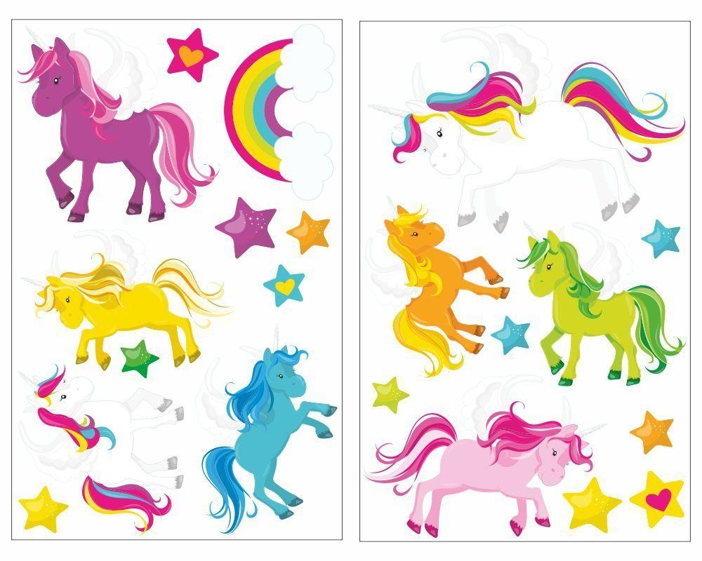 Unicorn 21 Teiliges Einhorner Wandtattoo Set Kinderzimmer Ba