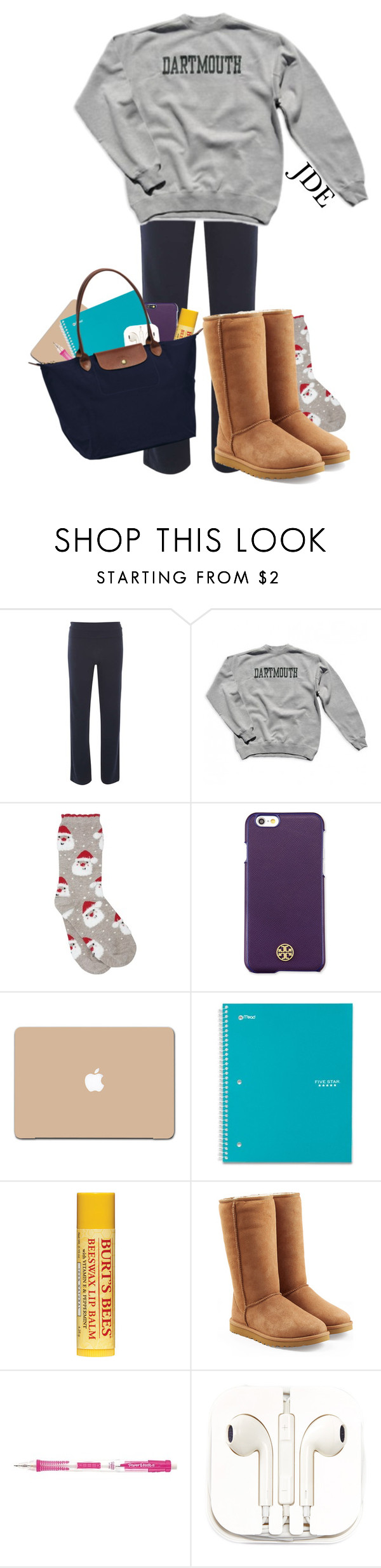 """""""8 am class like...."""" by jane-dodge ❤ liked on Polyvore featuring Dorothy Perkins, M&Co, Tory Burch, UGG Australia, PhunkeeTree, Longchamp, women's clothing, women's fashion, women and female"""