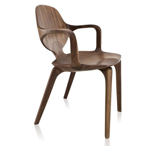Chaise Design Organique Avec Accoudoirs En Bois Massif CLAD SOLLOS