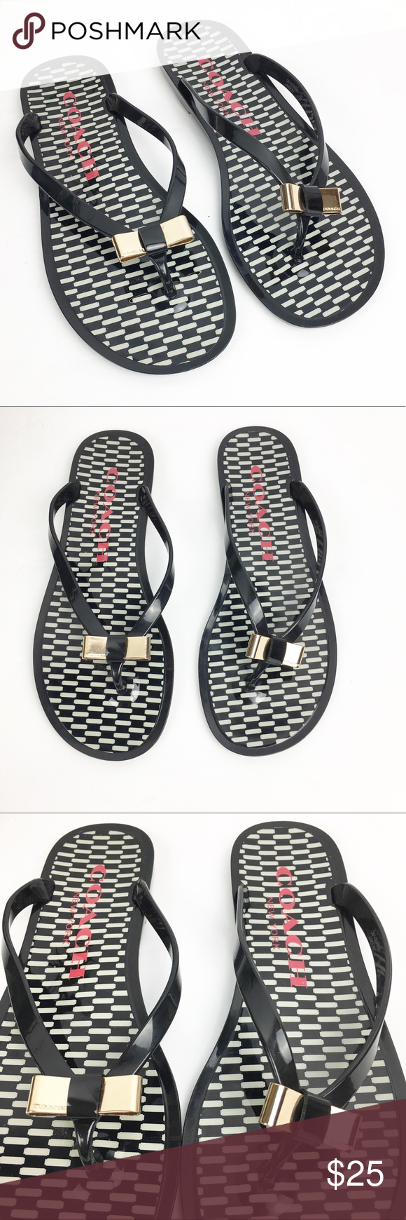 5bb20826adeb6e Coach Black   White Landon Jelly Bow Sandals Sz 7B Coach Black   White  Landon Jelly Bow Thong Flip Flop Sandals Size 7B. These are gently worn  condition