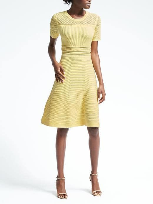 Fit and flare sweater dress in Lemondrop by Banana Republic ...