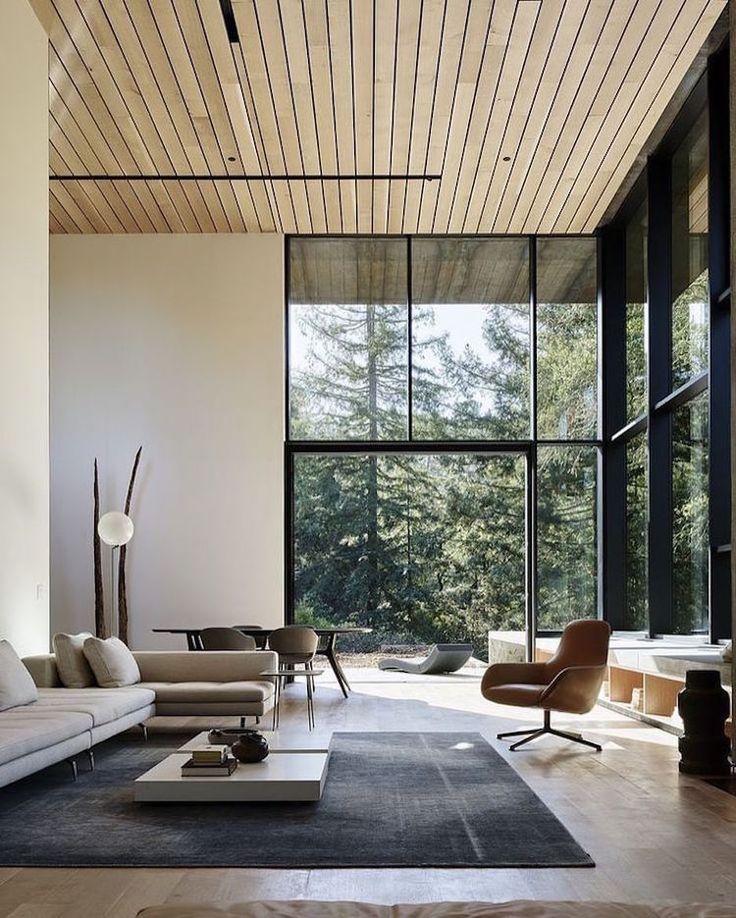 Idée Décoration Maison En Photos 2018 u2013 salon-moderne-neutre-lambris