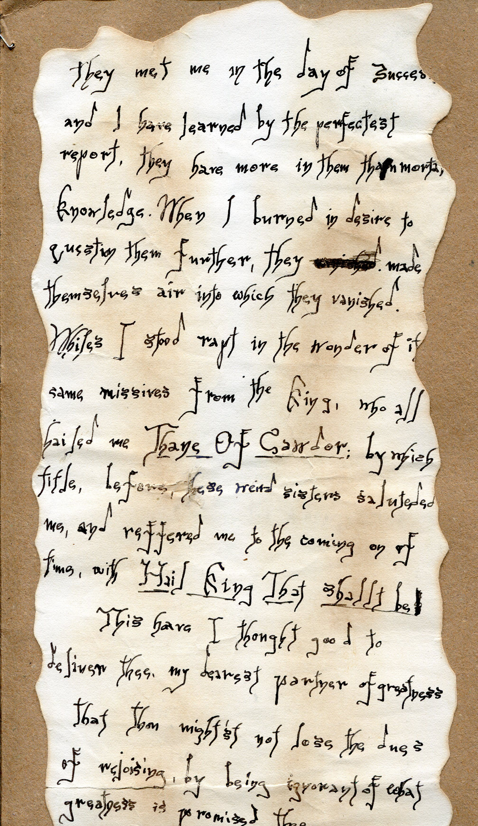 letter of lady macbeth This writing assignment based on macbeth by william shakespeare asks students to write the letter that macbeth wrote to lady macbeth telling her of the weird sisters' predictions.