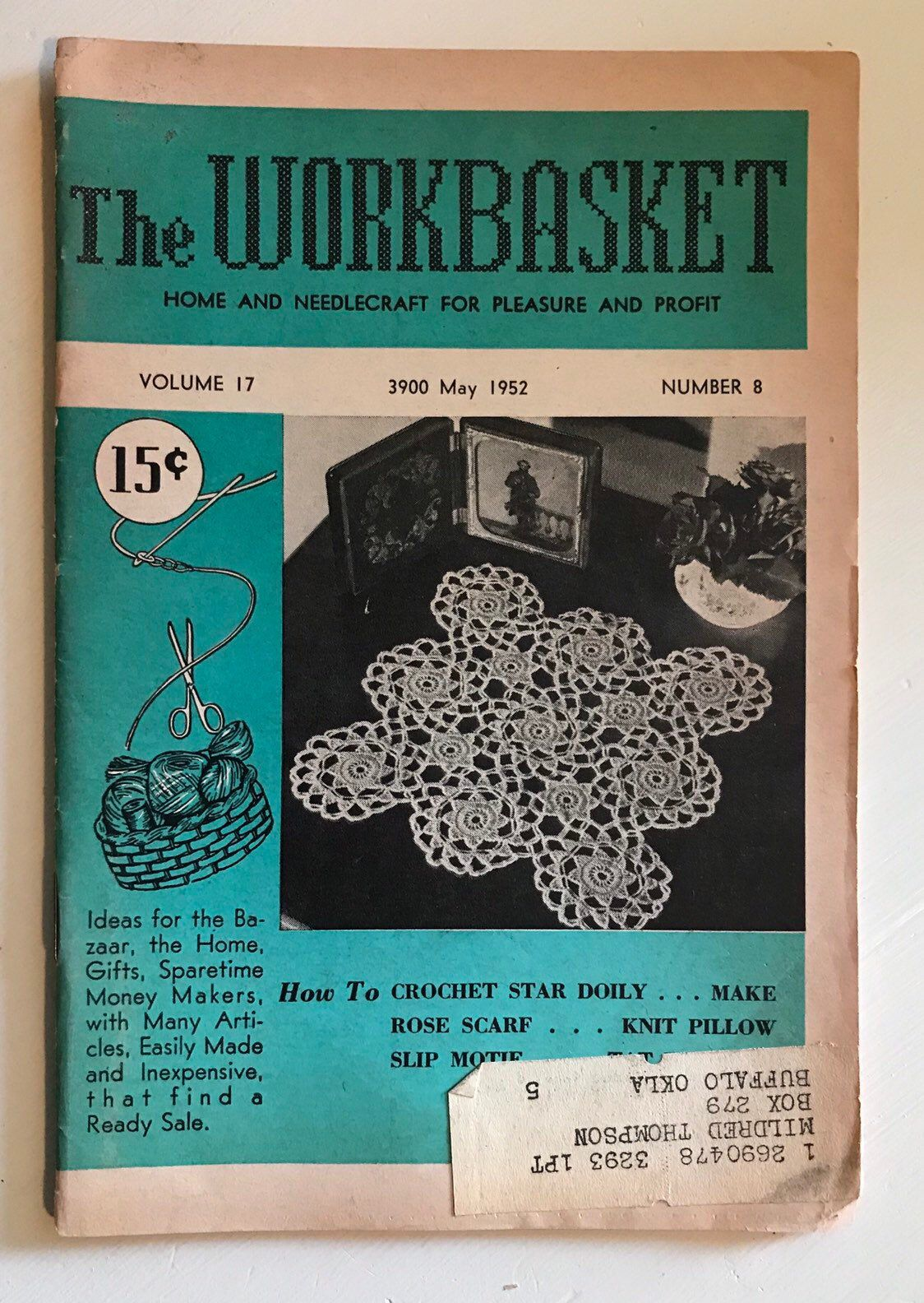 Excited to share this item from my #etsy shop: Vintage .... the WORKBASKET   Home and Needlecraft for Pleasure & Profit  Volume 17  Number 8  May 1952