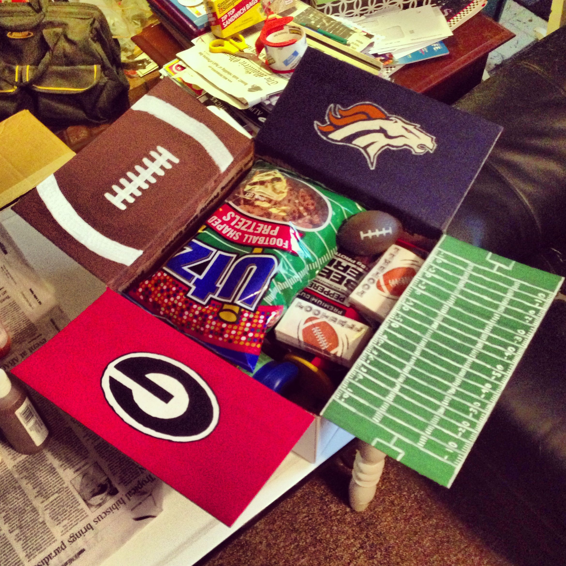 Luke's 12 Care Package! Since football season just started - his favorite NFL and college teams!