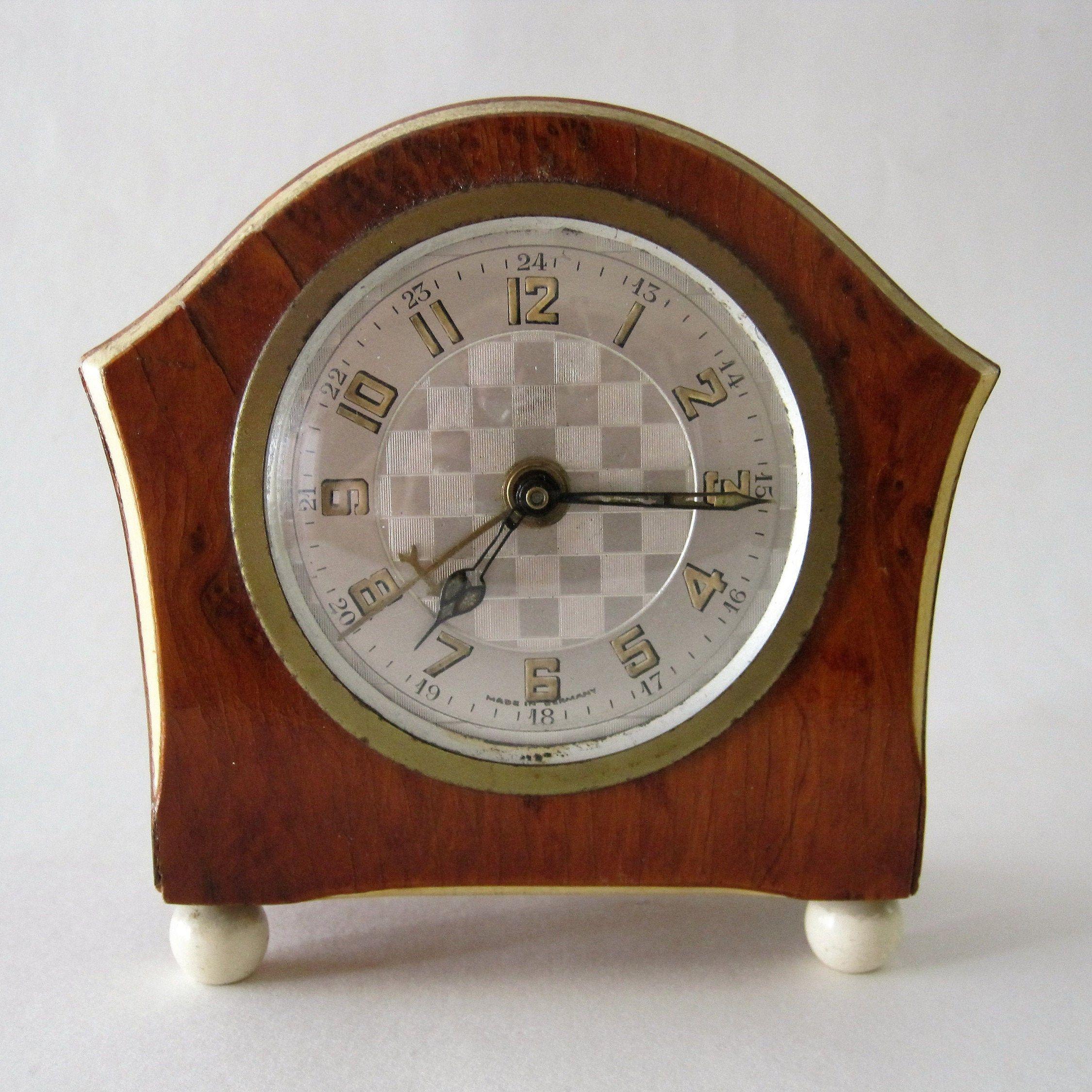 Vintage Art Deco Wind-Up Alarm Clock Wood Veneer Finish ...