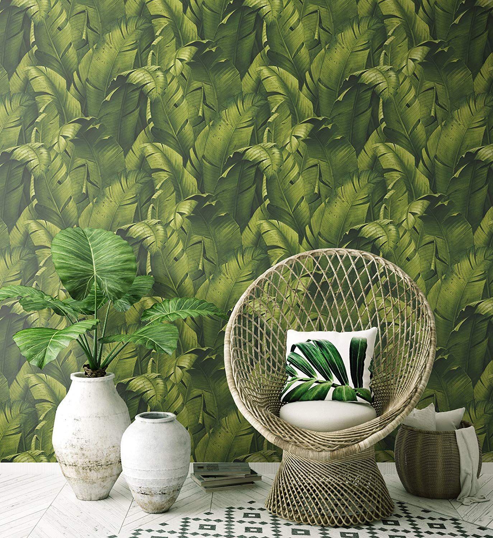 NextWall Tropical Banana Leaves Peel and Stick Wallpaper