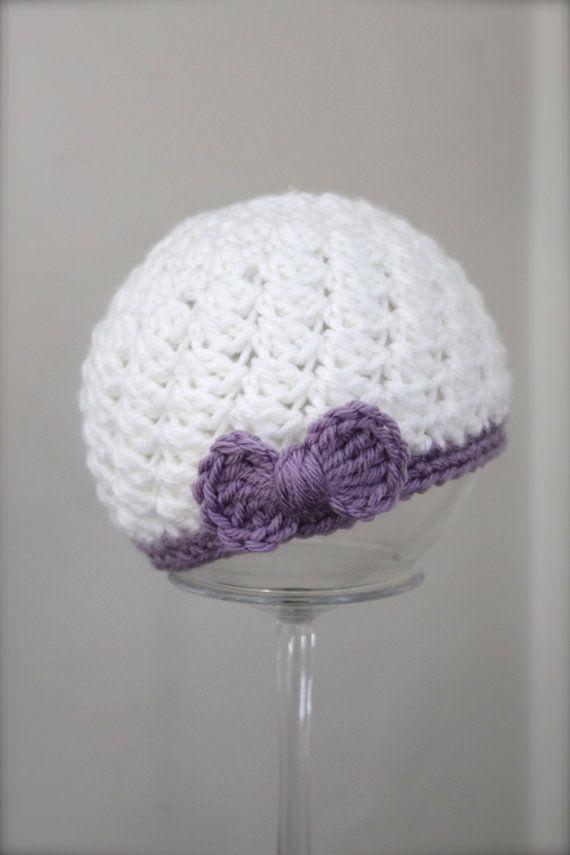 Crochet Bow Hat Infant Hat Baby Hat White Hat by ZawiHatsAndMore