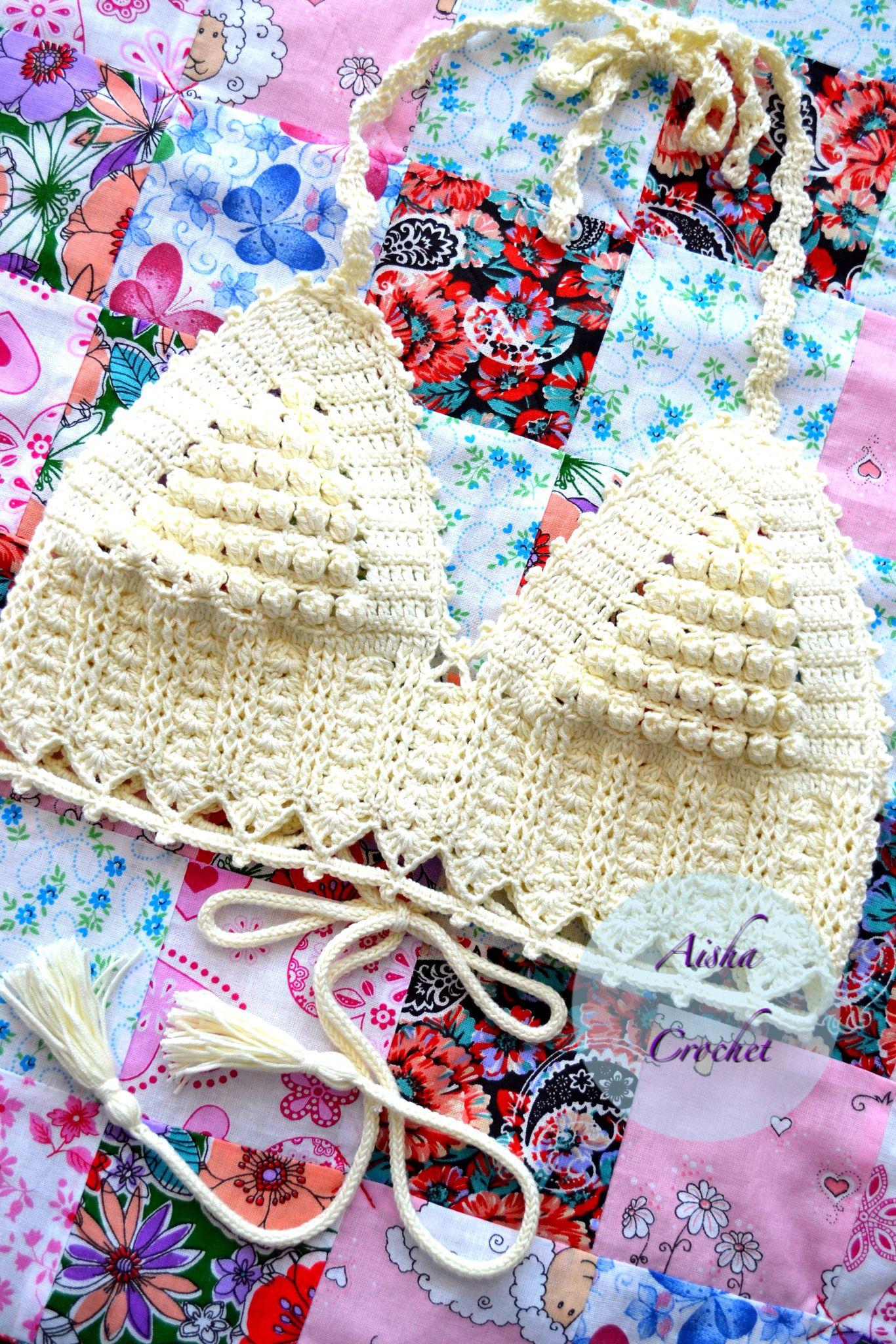 Crochet crop top, Aisha crochet uncinetto