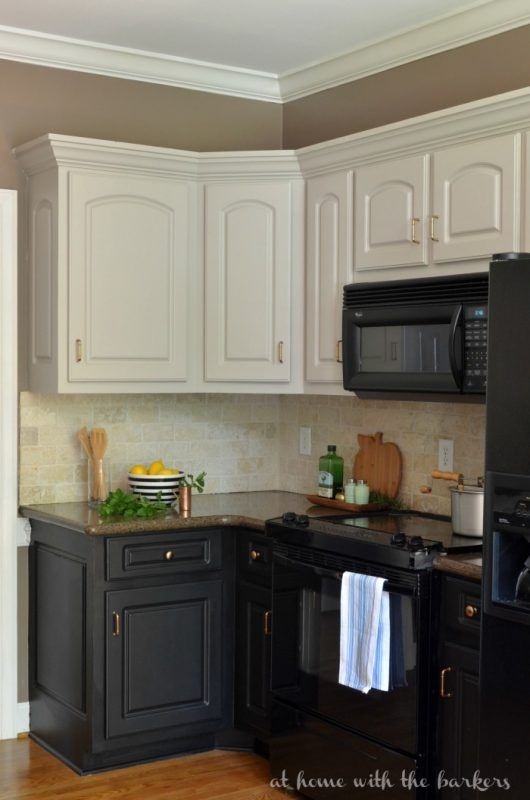 Sonya At Home With The Barkers Diy Two Tone Painted Kitchen Cabinet Review New Kitchen Cabinets Black Kitchen Cabinets Kitchen Cabinets Makeover