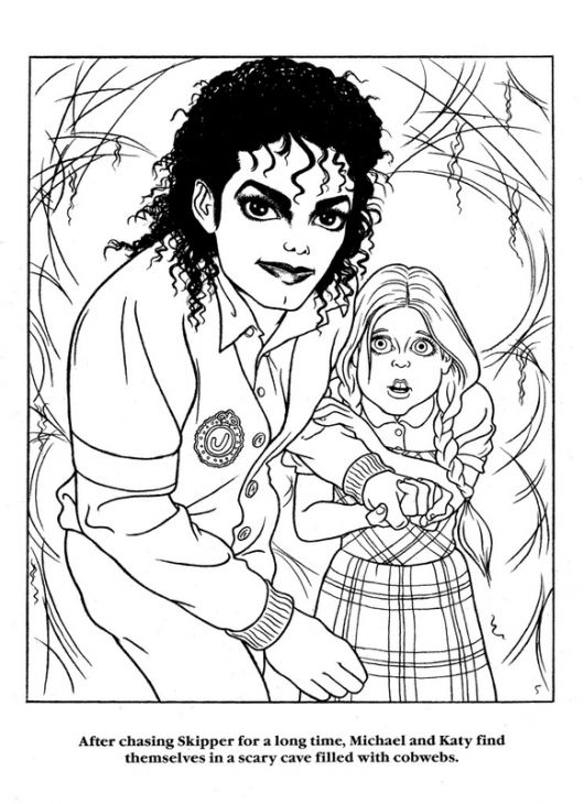 Michael Jackson and his little girl coloring page free printable ...