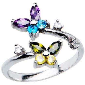 10k White Gold Cubic Zirconia Butterfly Toe Ring #BodyCandy #ToeRings #Trending