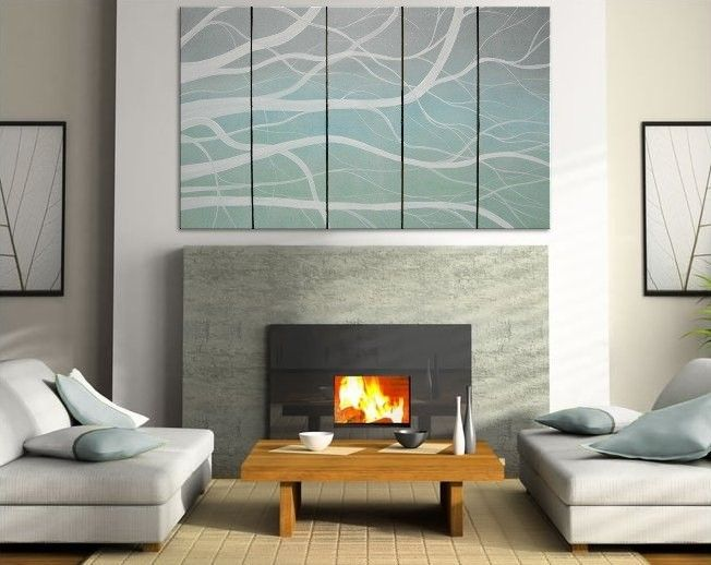 Winter Tree Branches Painting Modern Abstract HUGE Original Art Large Greys Turquoise White Office Art Custom 60x36. $495.00, via Etsy.