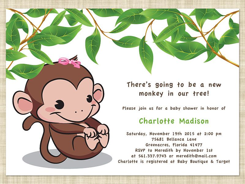 Baby Shower Invitations Awesome Leaf Cartoon Monkey Baby Shower