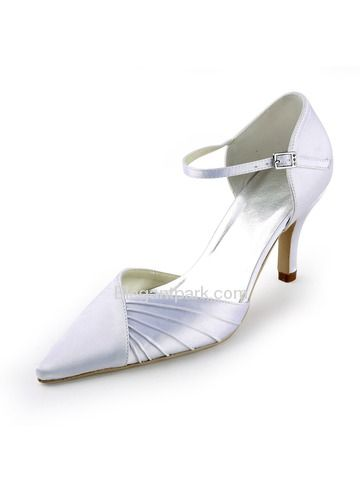 White Pointy Toe Ruched Stiletto Heel Satin Wedding Evening Party Shoes