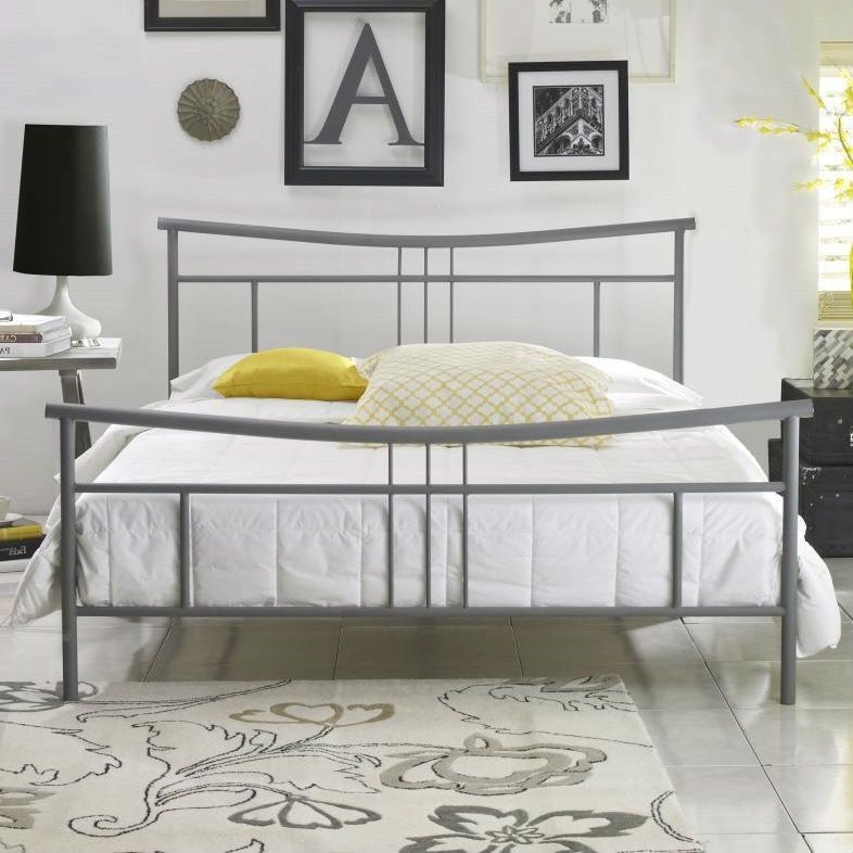 Queen size Contemporary Metal Platform Bed Frame with Headboard and ...