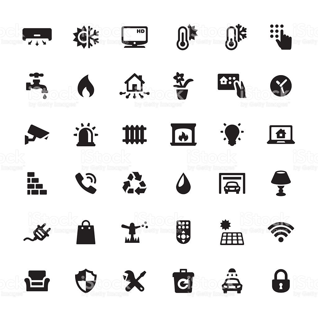 Smart House Features icons. Home icon, Smart home, Pictogram