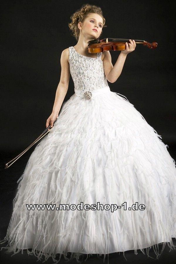 Weisses Boa Kleid Ballkleid Mädchen Abend Kleid Langes ...
