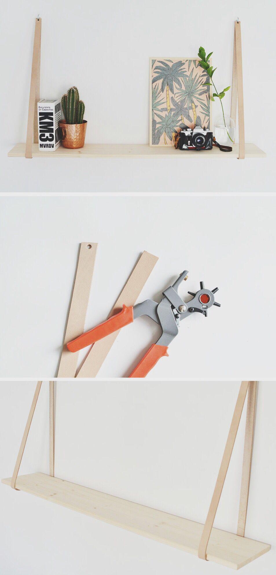 diy easy leather strap shelf diy home decor pinterest. Black Bedroom Furniture Sets. Home Design Ideas