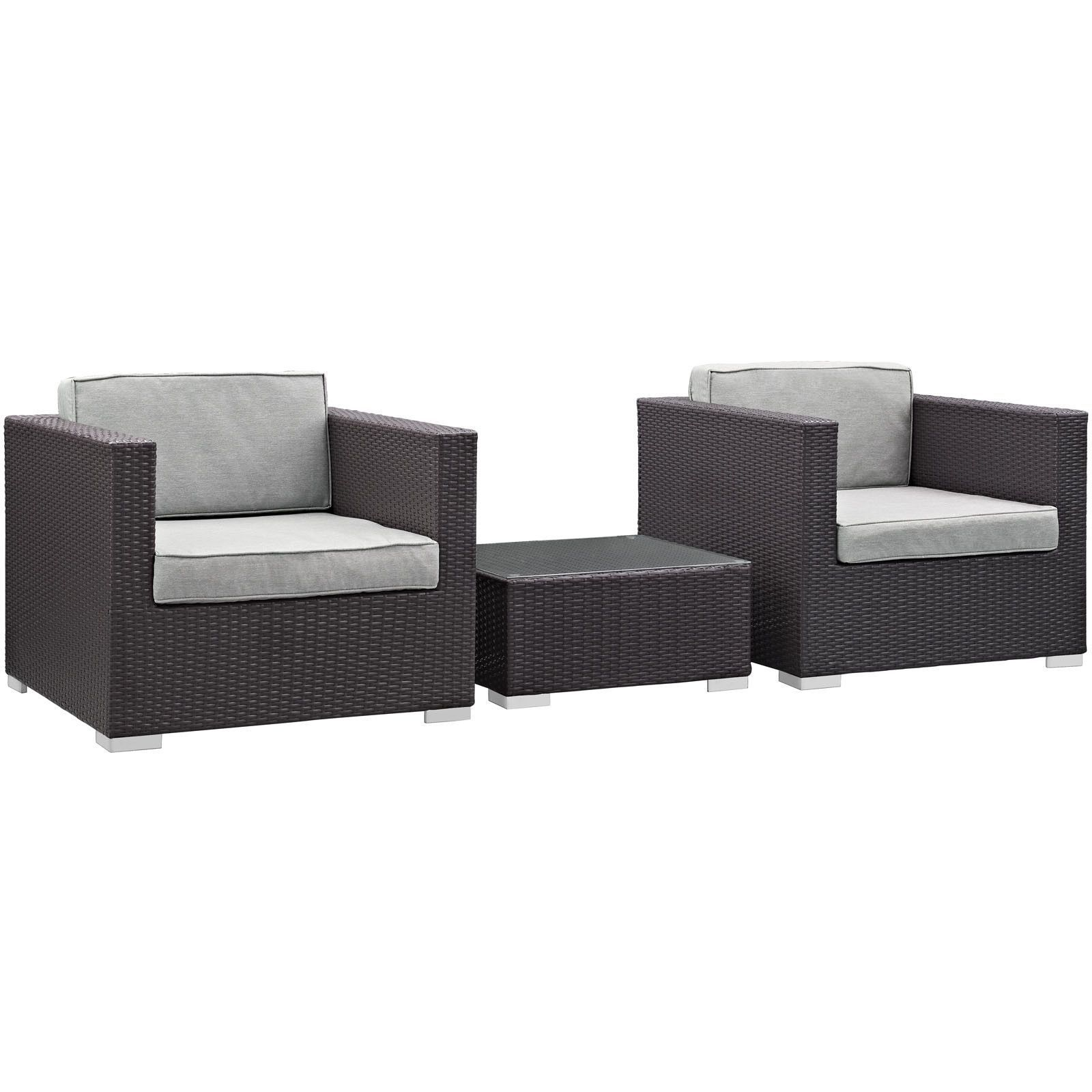 Burrow 3 Piece Modern Outdoor Patio Sofa Set