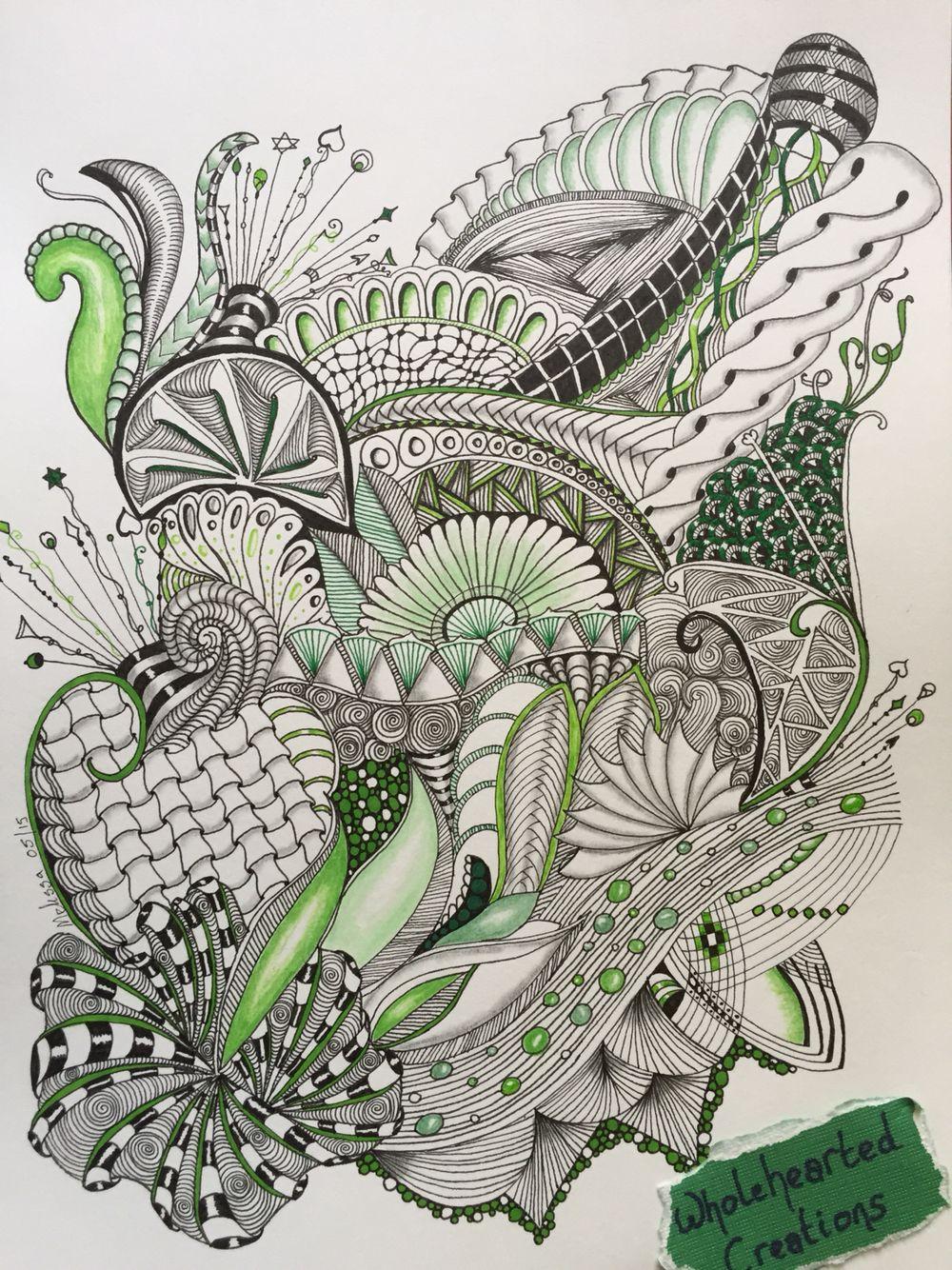 Zen doodle colour - Zia Zentangle Zendoodle Zenspiration Dangles Doodle Colour Green Aquafleur Cadent Funnls Intwine Shattuck Oringel Ribbons Flower