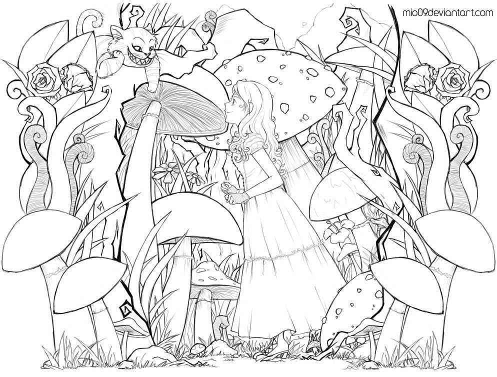 ALICE in WONDERLAND Lineart by dwainio FREE download