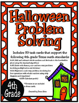 Halloween Problem Solving 4th Grade Teks 44a 44h 45a 410b