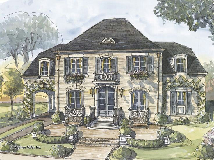 If Master Goes Upstairs This Is The General Idea Of Building Garage Into The Side Of The House French Country Exterior French Country House French House Plans