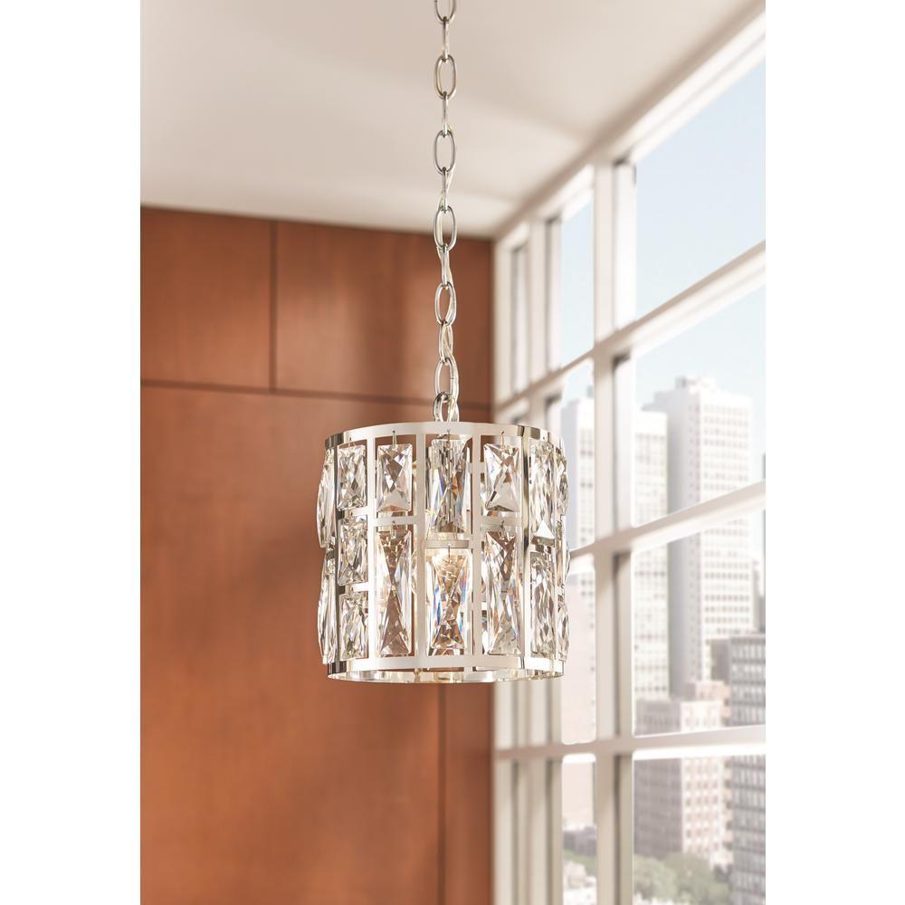 Home Decorators Collection Kristella 1 Light Crystal And Chrome Pendant 30685 Hbu The H Crystal Pendant Lighting Light Fixture Covers Island Pendant Lights