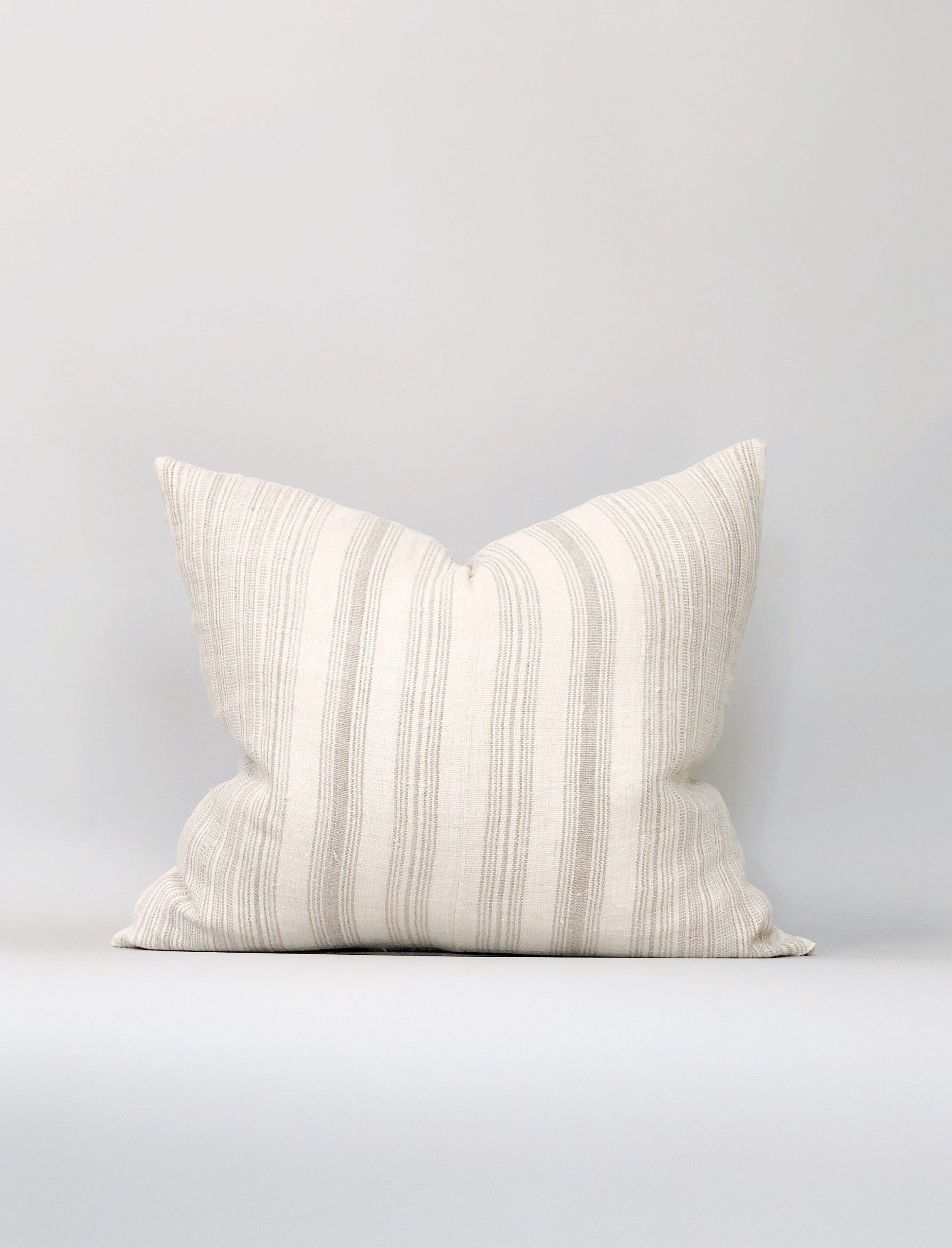 20x23 Striped Hemp Linen Pillow Case Faded Taupe Grey Designer Vintage By Clothandmain On Etsy Https Www Etsy Linen Pillow Cases Pillows Stripes Inspiration