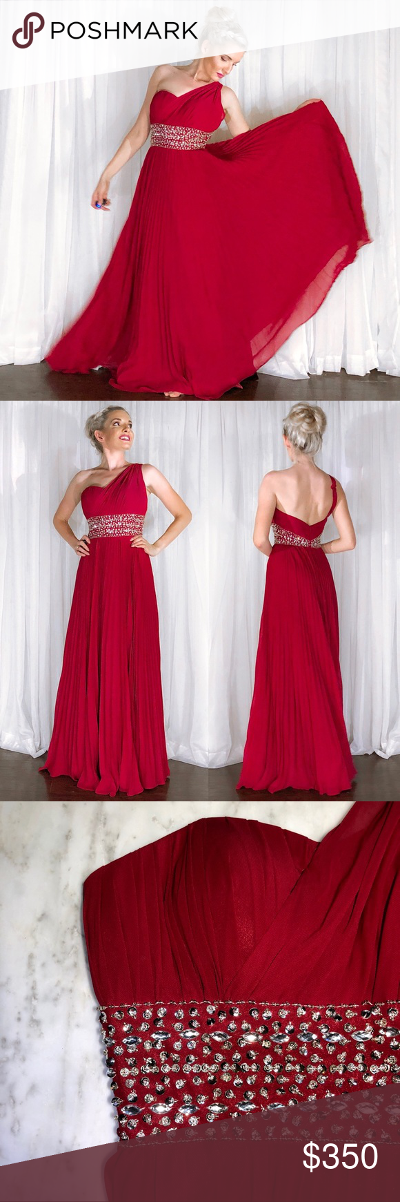 One shoulder rhinestone red pageant prom gown boutique my posh