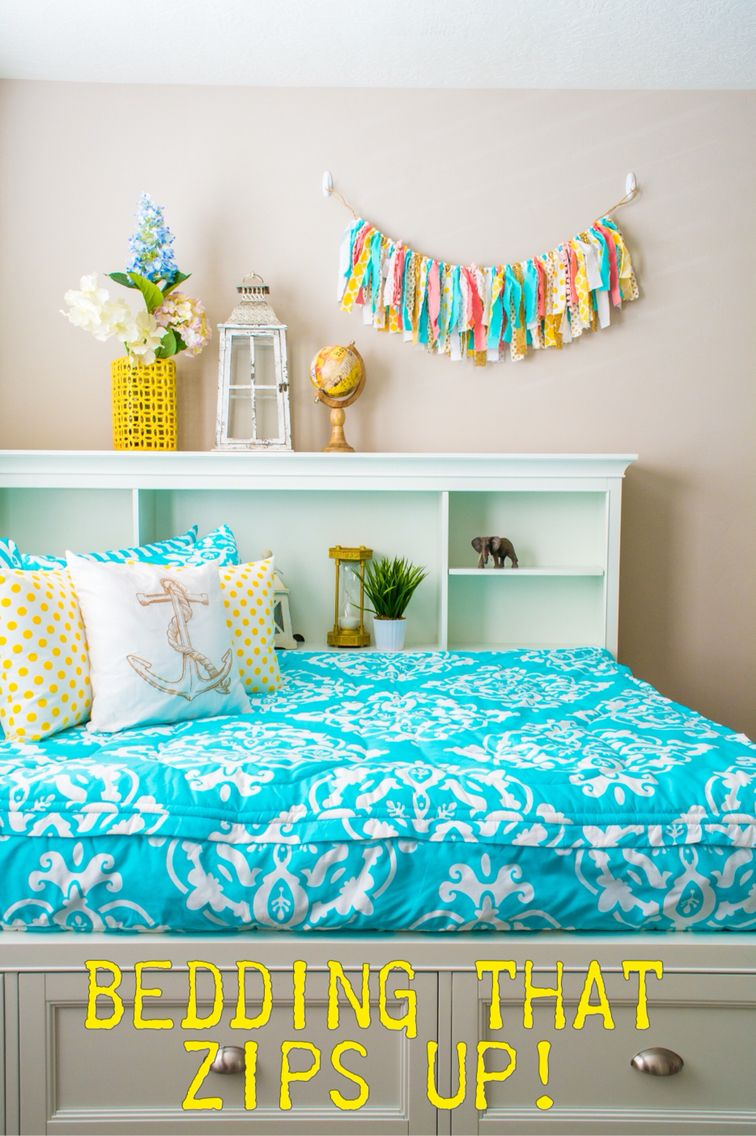 Turquoise bedding with coral and yellow accents! ⚓ | Girls ...