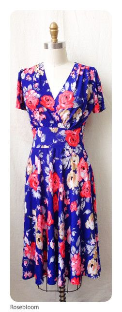 45b3d4688b0 Blue with red flowers looks great in this style  99
