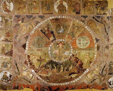 tapiz de la creaci n del mundo bordado sobre lana s xii tesoro de la catedral de gerona. Black Bedroom Furniture Sets. Home Design Ideas