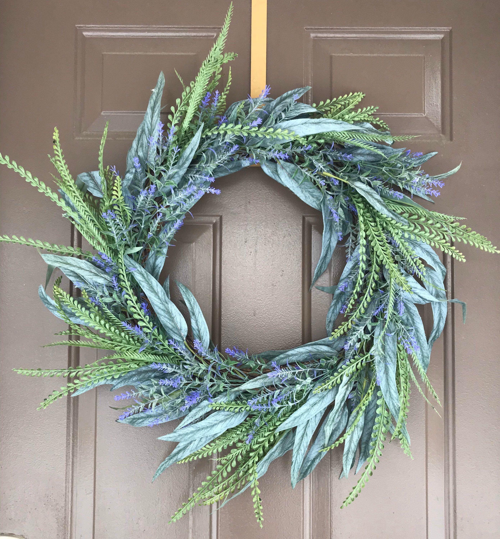 Photo of Eucalyptus wreath, lavender wreath, St. Patrick's Day wreath, front door wreath, all year round wreath, peasant wreath green wreath