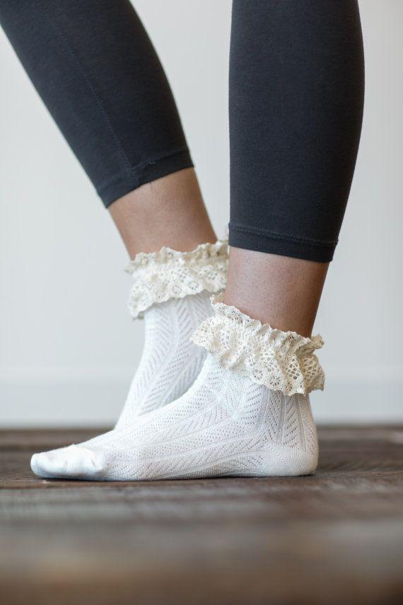 Lace Ankle Socks, Boot Socks, Women's