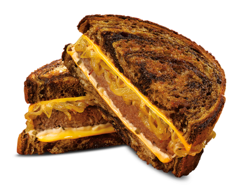ALL-AMERICAN PATTY MELT-  Some perfection can't be messed with—like sautéed onions and Thousand Island on marbled rye. But you can add to the perfection by choosing your favorite cheese.