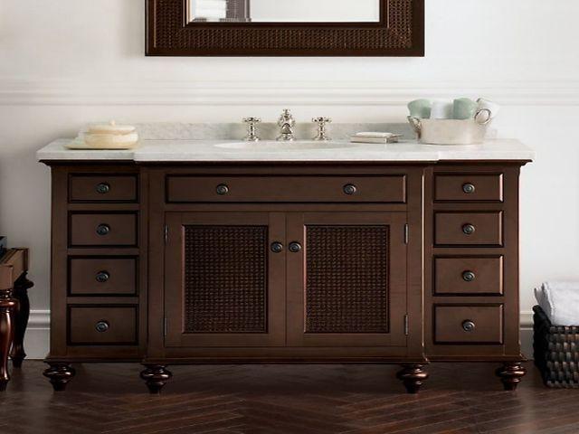 Bathroom Vanity Lowes Lying In Two Bathrooms At Home Vanities Dark Brown Table White Surface Cloth Basket Wooden Floor