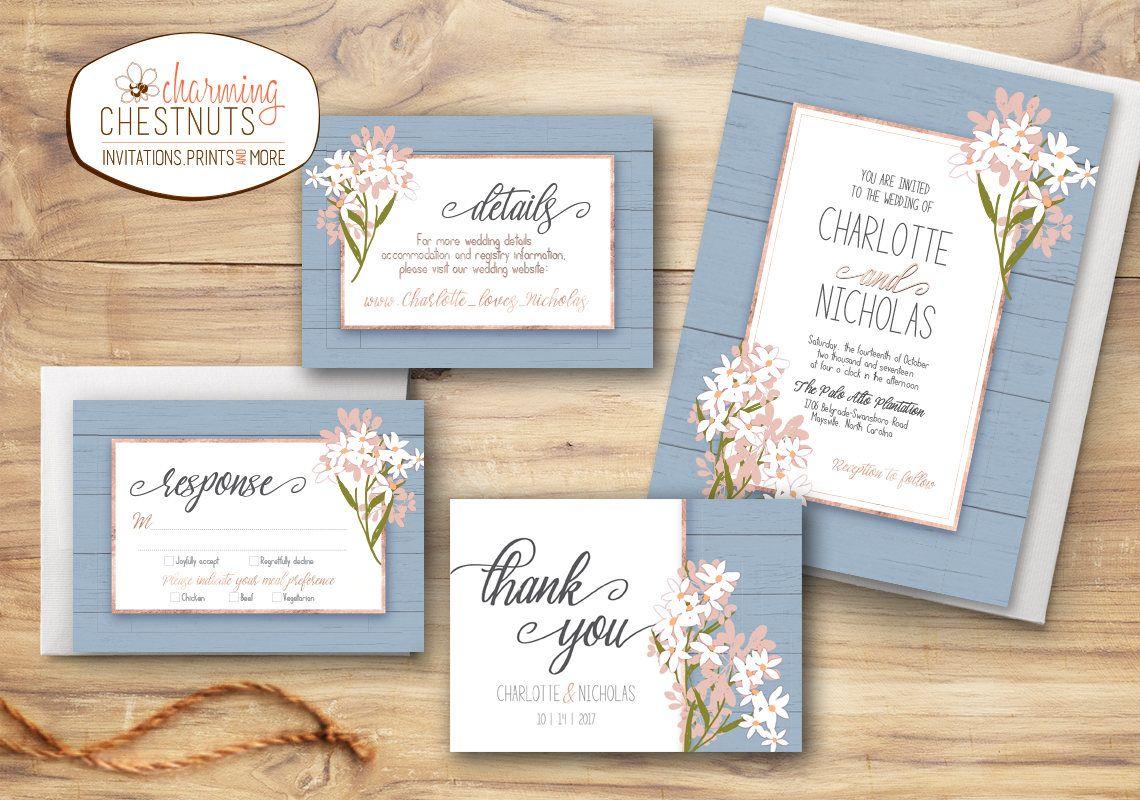 Dusty blue wedding invitation set, Blue wedding, Something blue ...