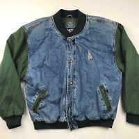 Vintage 90s Men S No Fear Denim Jacket Large Bomber Varsity Green Sleeves Pocket Denim Bomber Jacket Jackets Denim