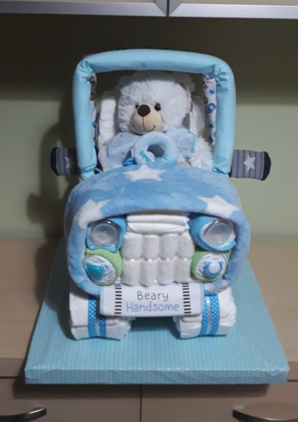 Diaper cake for baby boy jeep in blue and white baby boy
