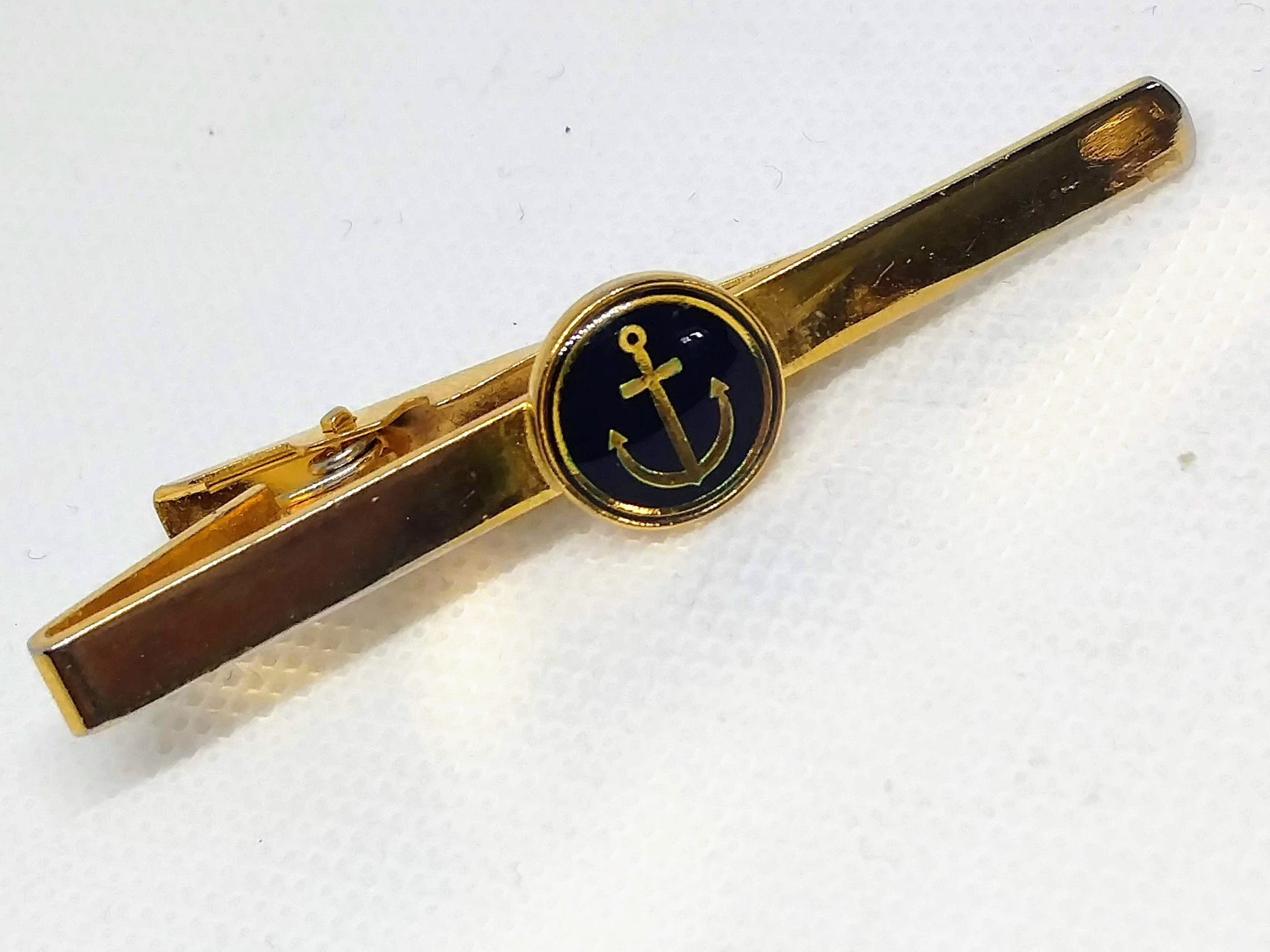 Gold Toned Detailed Nautical Anchor Tie Clip