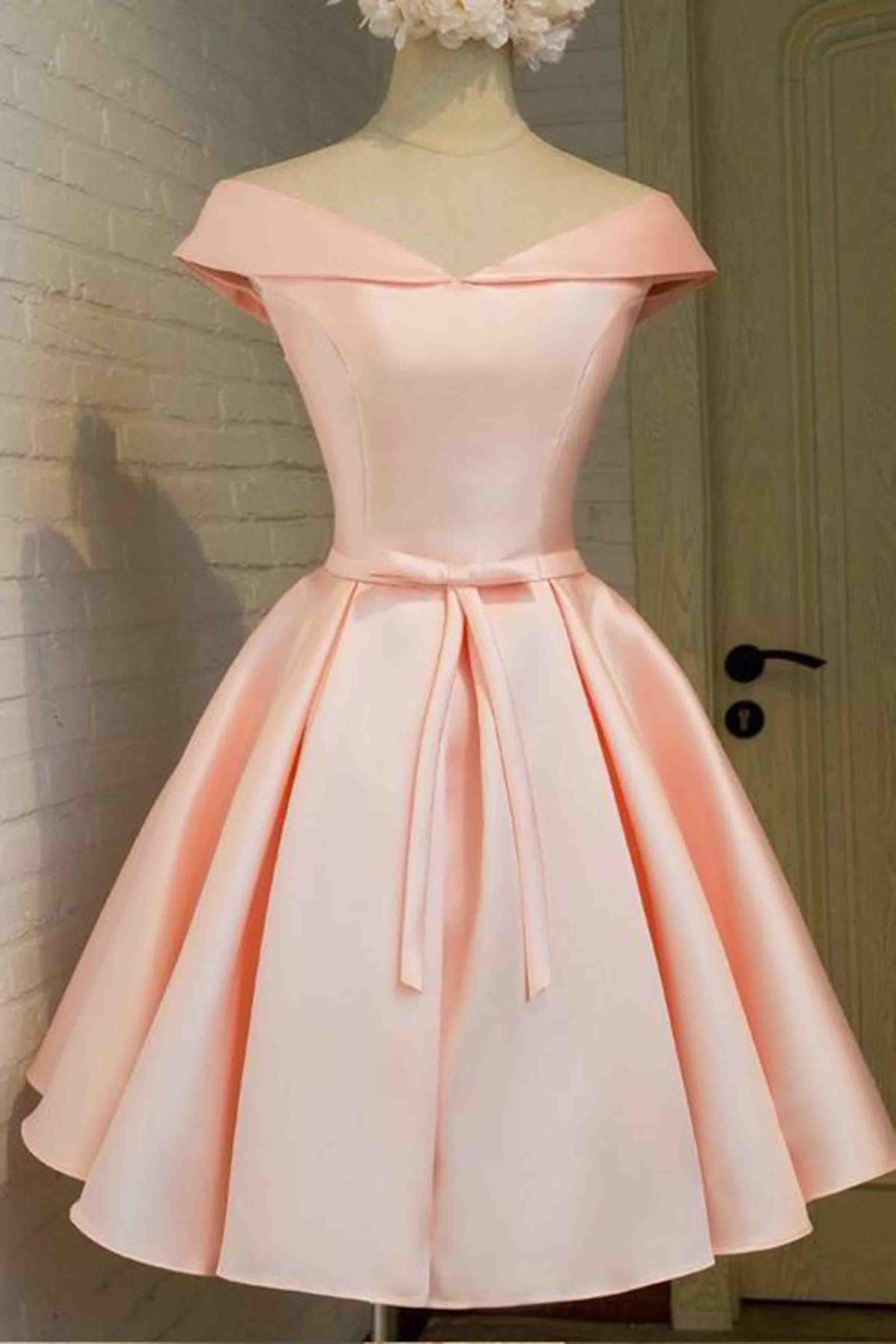 Vintage prom dress, off the shoulder prom dress, pink satin prom ...
