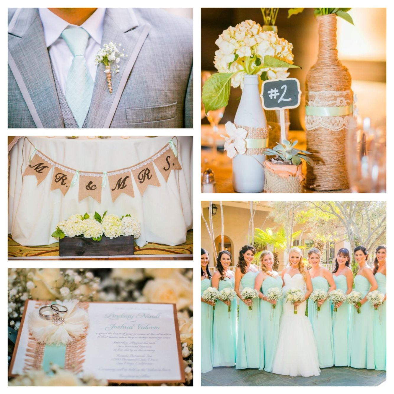 Mint Green And Grey With Burlap/twine Accents Wedding. In