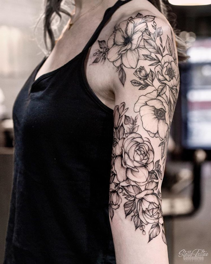 34 Amazing Unique Sleeve Tattoo Ideas For Woman Floral Tattoo Sleeve Half Sleeve Tattoo Sleeve Tattoos For Women