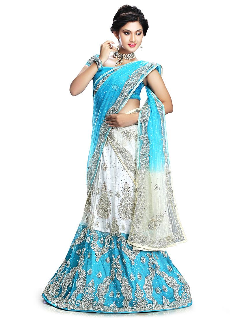 Buy off white and blue lehenga choli made of net online shop your