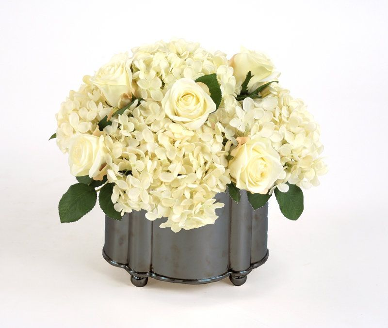 Cream-White Roses, Hydrangeas in Footed Oval Planter